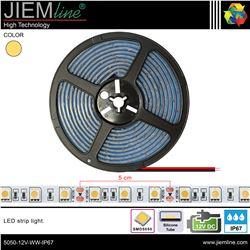 TIRA LED BLANCO CÁLIDO 12V DC IP67 - 5050-12V-WW-IP67