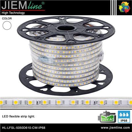 TIRA LED BLANCO FRÍO 220V AC IP68 - HL-LFSL-5050D610-CW-IP68