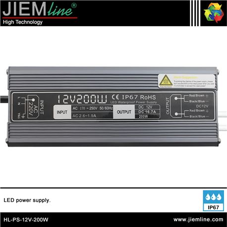 FUENTE ALIMENTACIÓN 200W 12V DC IP67 - HL-PS-12V-200W