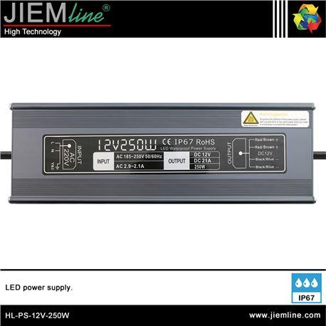 FUENTE ALIMENTACIÓN 250W 12V DC IP67 - HL-PS-12V-250W