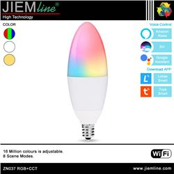 LÁMPARA LED E14 RGB+CCT 5W WIFI 2,4 Ghz - ZN037-1