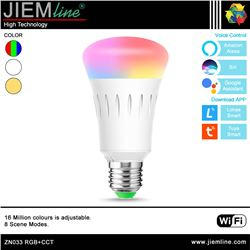 LÁMPARA LED E27 RGB+CCT 9W WIFI 2,4 Ghz - ZN033-1