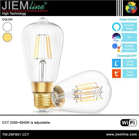 LÁMPARA LED E27 CCT 8W WIFI 2,4 Ghz - TW-ZNFB01-1