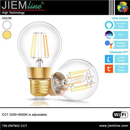 LÁMPARA LED E27 CCT 8W WIFI 2,4 Ghz - TW-ZNFB02-1