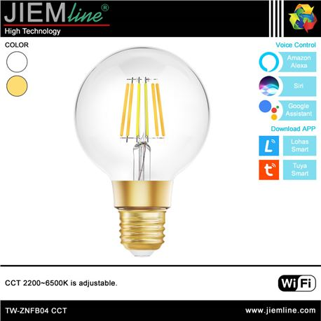 LÁMPARA LED E27 CCT 8W WIFI 2,4 Ghz - TW-ZNFB04-1