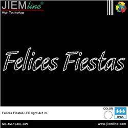 FELICES FIESTAS 2D LED BLANCO FRÍO 400X100 cm - M3-4M-1040L-CW