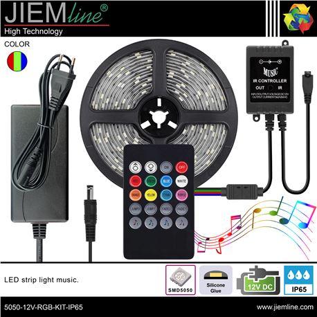 KIT TIRA LED RGB MUSIC 12V DC IP65 - 5050-12V-RGB-KIT-IP65