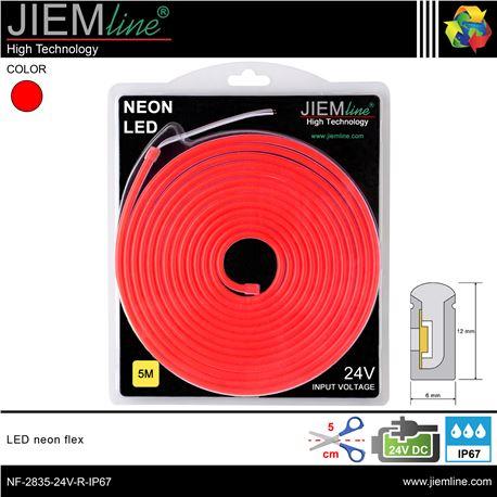 LED NEÓN FLEX ROJO 6x12 mm 24V DC IP67 - NF-2835-24V-R-IP67