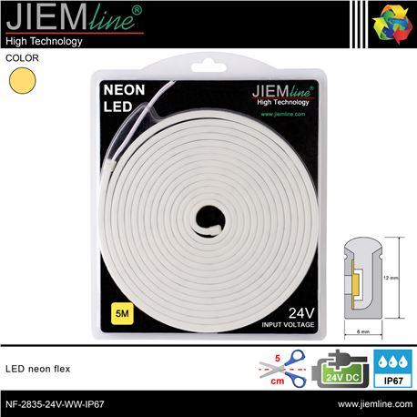 LED NEÓN FLEX BLANCO CÁLIDO 6x12 mm 24V DC IP67 - NF-2835-24V-WW-IP67